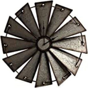Gianna's Home Rustic Farmhouse Country Metal Windmill Wall Clock (24 in.), Opens in a new tab