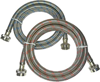 Premium Stainless Steel Washing Machine Hoses, 4 Ft Burst Proof (2 Pack) Red and Blue..