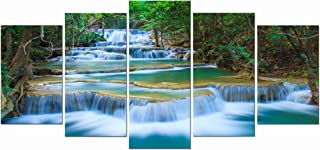 Wieco Art – Peaceful Waterfall Modern 5 Piece Stretched and Framed Artwork Giclee..