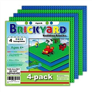 Brickyard Building Blocks 4 Baseplates, Improved Design 10 x 10 Inches Large Thick Base..