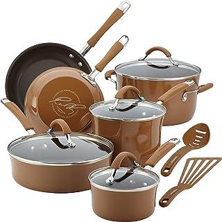 Rachael Ray Cucina Nonstick Cookware Pots and Pans Set, 12 Piece, Mushroom Brown