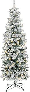 Best Choice Products 6ft Pre-Lit Artificial Snow Flocked Pencil Christmas Tree Holiday..