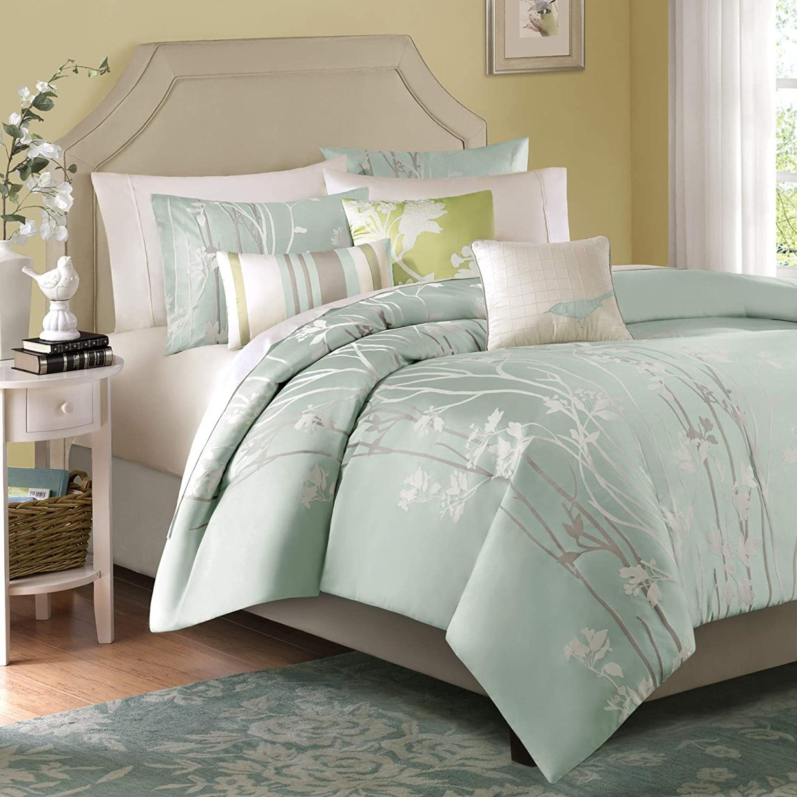 Amazon Com Madison Park Athena Queen Size Bed Comforter Set Bed In A Bag Seafoam Green Floral Jacquard 7 Pieces Bedding Sets Ultra Soft Microfiber Bedroom Comforters Mp10 001 Home Kitchen