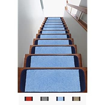 Amazon Com Antep Rugs Safe Steps Collection Non Slip Area Rug | Navy Carpet On Stairs | Wooden | Loop Pile | Wall To Wall Carpet | Dark Blue | Geometric