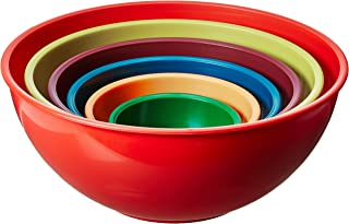 Gourmet Home Products 6 Piece Nested Polypropylene Mixing Bowl Set, Orange