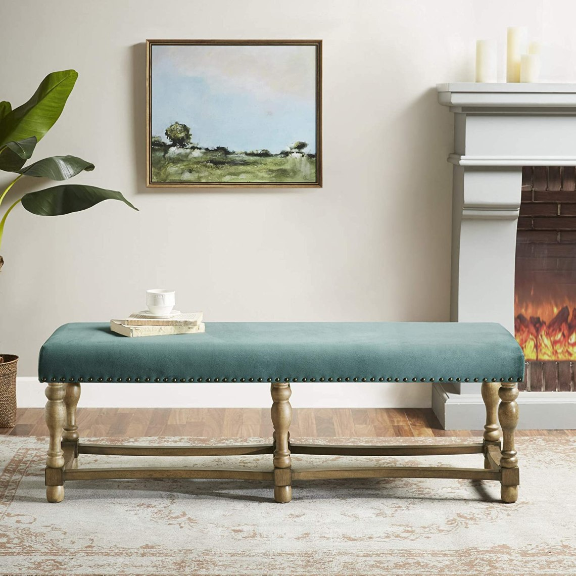 Solid Wood Green Fabric Upholstered Seat Living Room Furniture Modern Farmhouse Design Chaise Bedroom Lounge Martha Stewart Searles Accent Bench 54 X 18 X 18 Chaise Lounges Home Kitchen Sellingpro Co Id
