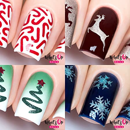 Amazon Com Whats Up Nails Christmas Nail Vinyl Stencils 4 Pack Candy Canes Ribbon Tree Deer Gold Merry Snowflake For Nail Art Design Kitchen Dining