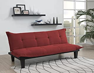 DHP Lodge Convertible Futon Couch Bed with Microfiber Upholstery and Wood Legs, Red
