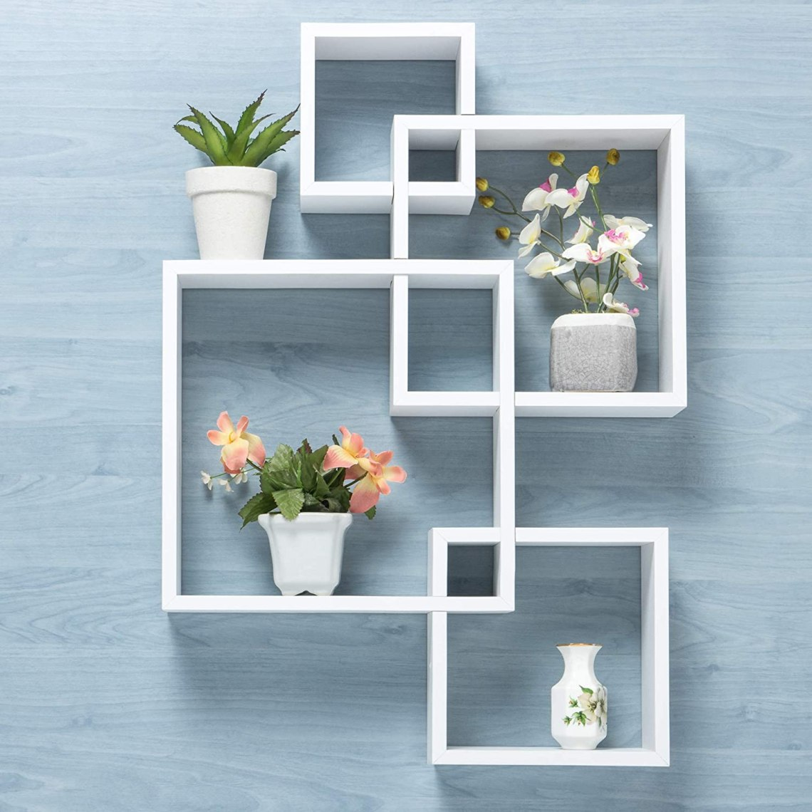 Gatton Design Wall Mounted Floating Shelves Interlocking Four Cube Design Perfect Shelving Unit For Bedrooms Offices Living Rooms Kitchens Floating Shelf Decor Storage Display White