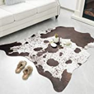 Rostyle Faux Cowhide Rug Cute Cow Hide Rug for Living Room Bedroom Western Home Decor Faux Fur Cow Print Rugs White and Brown, 5.2 x 6.2 Feet, Opens in a new tab