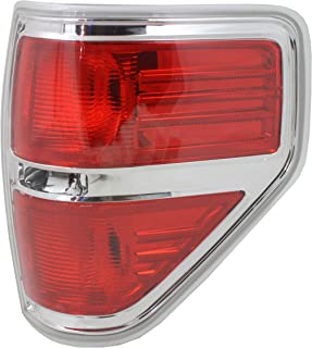Tail Light Lens and Housing Compatible with 2009-2014 Ford F-150 Styleside Chrome trim..