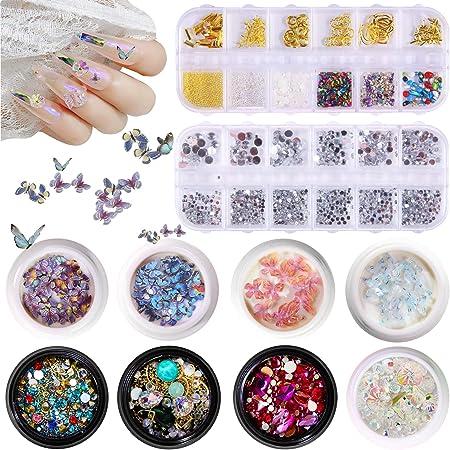 Amazon Com Nail Jewels Nail Art Rhinestones For Nails Crystals And Nail Decorations For Nails Art 3d Nail Gems Art Diamonds And Decorations Crystal Acrylic Jewels Nails For Acrylic Nails Craft 10 Box 6400pcs