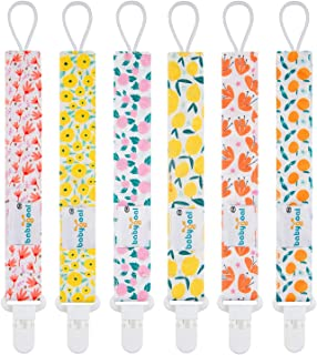 Babygoal Pacifier Clips for Girls, 6 Pack Pacifier Holder Fits Most Pacifier Styles..