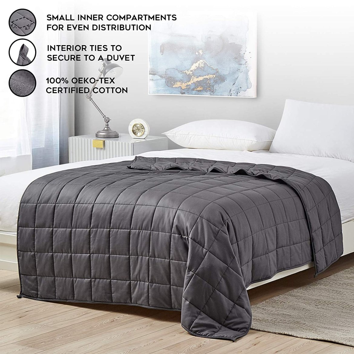 YnM Weighted Blanket — Heavy 100% Oeko-Tex Certified Cotton Material with Premium Glass Beads (Dark Grey, 80''x87'' 20lbs), Two Persons(90~160lb) Sharing Use on Queen/King Bed | A Duvet Included