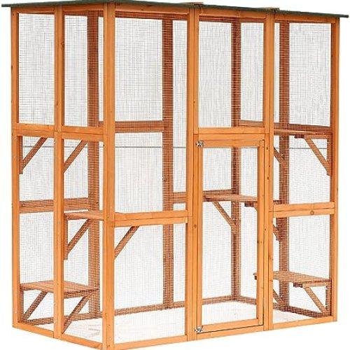 PawHut Large Wooden Outdoor Catio Enclosure