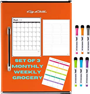 Dry Erase Monthly Calendar Set – Large Magnetic White Board List Organizer for..