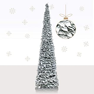 YuQi 5Ft Snow Flocked Artificial Pencil Christmas Tree,Collapsible Pencil Christmas Trees..