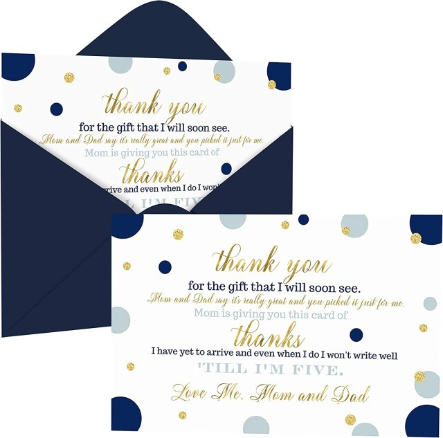 Navy and Gold Baby Shower Thank You Cards with Envelopes (18 Pack) Prince  Themed Supplies – Twinkle Star – Thanks from Baby Boy – A18 Flat Stationery