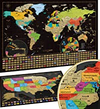 Scratch Off Map of the World + USA Map – Set of Two Deluxe Gold Scratch-Off Travel..