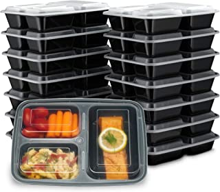 Ez Prepa [15 Pack] 32oz 3 Compartment Meal Prep Containers with Lids -Food Storage..