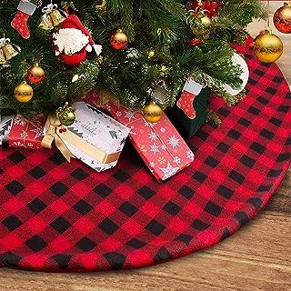 "yuboo Buffalo Plaid Christmas Tree Skirt,50"" Red and Black Check&Burlap.."