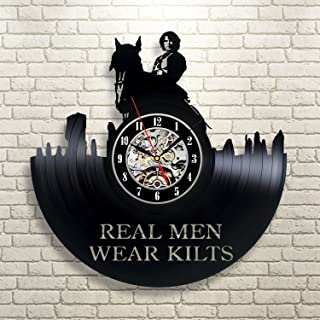 Outlander Real Men Vinyl Wall Clock Art Gift Room Home Record Vintage Decoration
