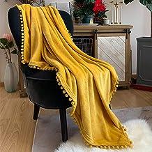 LOMAO Flannel Blanket with Pompom Fringe Lightweight Cozy Bed Blanket Soft Throw Blanket..