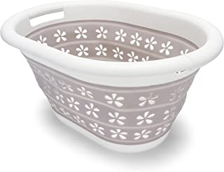 Camco White/Taupe Collapsible Utility/Laundry Basket – Perfect for Homes, Boats, and..