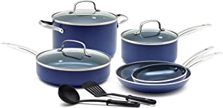 Blue Diamond Pan Toxin Free Ceramic Nonstick Cookware Set, 10 Piece