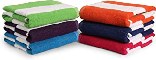 "100% Cotton Bath Towel, Pack of 6, Cabana Stripe Beach Towel, Large Pool Towels (30"".."