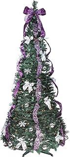 Northlight 6' Pre-Lit Slim Purple and Silver Pop-Up Artificial Christmas Tree..