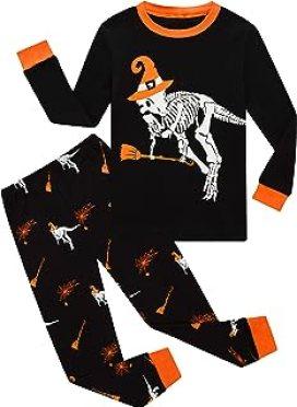 KikizYe Boys Pajamas Long Sleeve 100% Cotton Little Kids Pjs Sleepwear