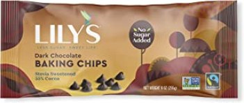Lily's Dark Chocolate Chips, Stevia, Vegan, 55% Cocoa, Non-GMO, Sugar Free, 27 oz Total (3 Pack Value)