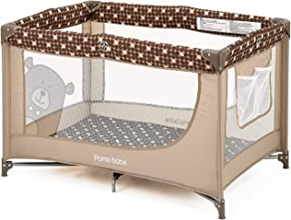 Comfortable Playard,Sturdy Play Yard with Mattress (Brown)