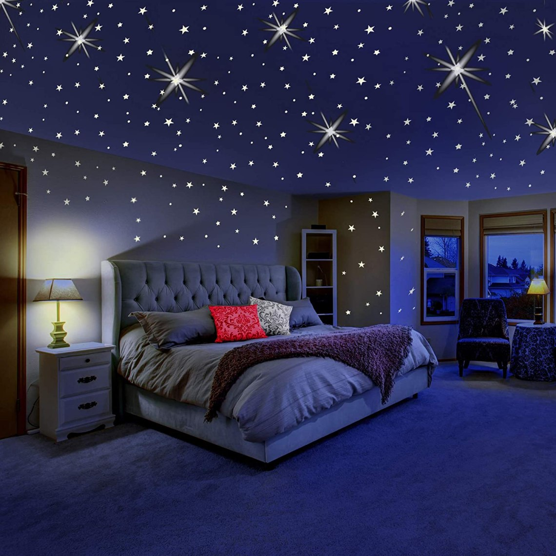 Amazon Com Glow In The Dark Stars For Ceiling Or Wall Stickers Glowing Wall Decals Stickers Room Decor Kit Galaxy Glow Star Set And Solar System Decal For Kids Bedroom Decoration