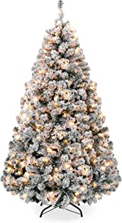 Best Choice Products 6ft Pre-Lit Snow Flocked Artificial Holiday Christmas Pine Tree for..