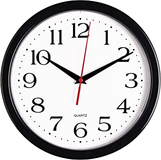 Bernhard Products Black Wall Clock Silent Non Ticking – 10 Inch Quality Quartz..