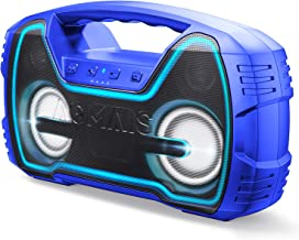 AOMAIS 25W Bluetooth Speakers with HD Stereo Sound&Deep Bass, Portable Outdoor Wireless Stereo Pairing Speaker, IPX7 Waterproof, Built-in Mic, 100ft Bluetooth Range for Party, Camping, Travel - Blue
