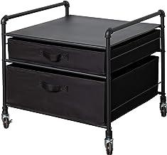 The Fridge Stand Supreme – Drawer Organization – Black Pipe Frame with Black Drawers