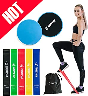 Thirty48 Gliding Discs Core Sliders and 5 Exercise Resistance Bands | Strength,..