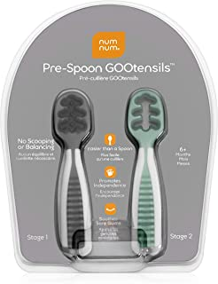 NumNum Pre-Spoon GOOtensils | Baby Spoon Set (Stage One + Stage Two) | BPA Free Silicone..