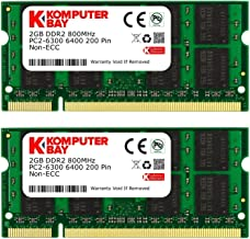Komputerbay 4GB Kit (2GBx2) DDR2 800MHz (PC2-6400) CL6 SODIMM 200-Pin 1.8v Notebook..