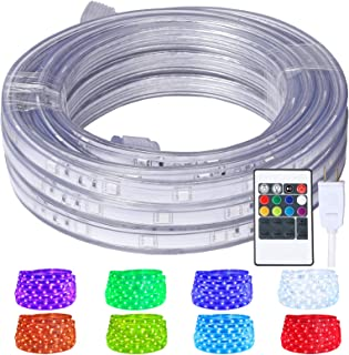 LED Rope Lights, 16.4ft Flat Flexible RGB Strip Light, Color Changing, Waterproof for..