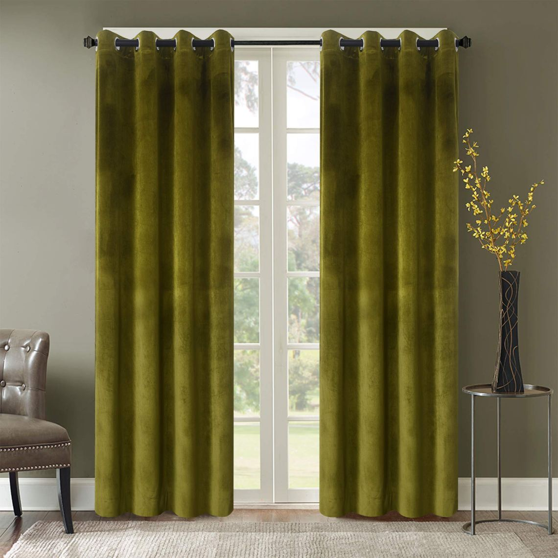 Roslyn Blackout Soft Luxury Velvet Olive Green Curtains Panels For Bedroom Window Treatment Thermal Insulated Solid Grommet Blackout Drapes For Living Room 52wx84l 2 Panels Buy Online In Guernsey At Guernsey Desertcart Com Productid