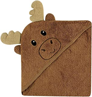 Luvable Friends Unisex Baby Cotton Animal Face Hooded Towel, Moose, One Size