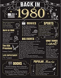 40 Years Ago Birthday or Wedding Anniversary Poster 11 x 14 Party Decorations Supplies..