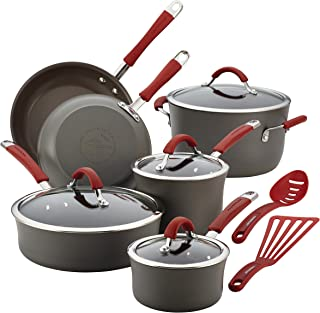 Rachael Ray Cucina Hard Anodized Nonstick Cookware Pots and Pans Set, 12 Piece, Gray with..