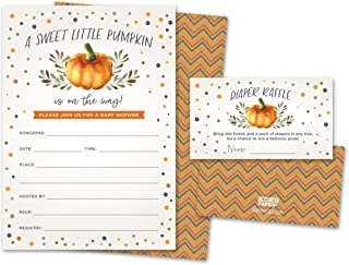 Sweet Little Pumpkin on The Way Rustic Fall Baby Shower Invitations and Diaper Raffle..