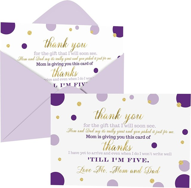 Purple and Gold Baby Shower Thank You Cards with Envelopes (18 Pack)  Princess, Mermaid Theme Supplies Abstract Dots -Thank You Note from Baby -  A18