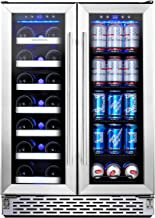 Phiestina Wine and Beverage Refrigerator | 24 Inch Built-In Dual Zone Wine Beer Cooler..